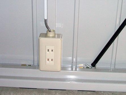 電気コンセント完備 バッテーリーの充電にどうぞ